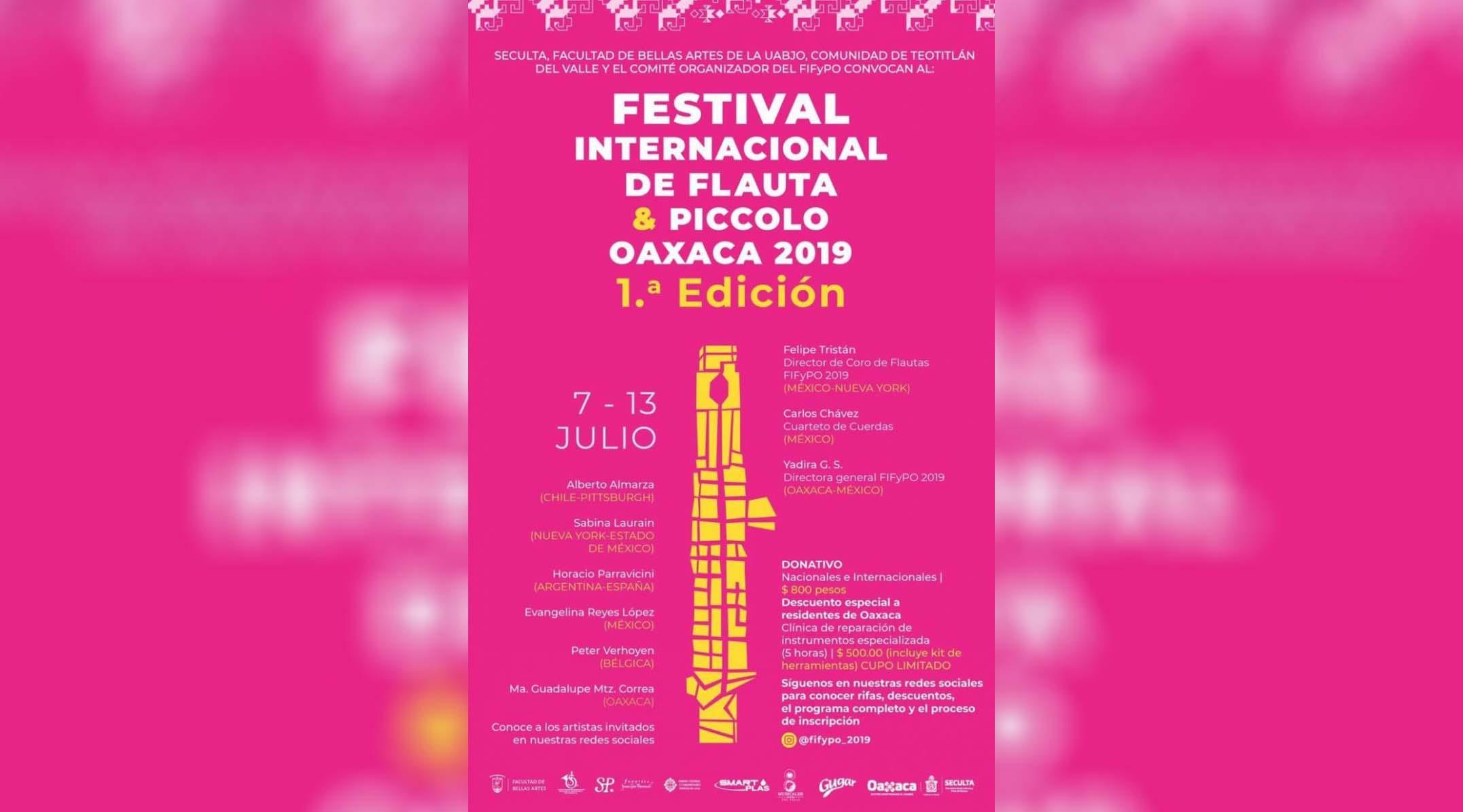 Albergará Oaxaca Festival Internacional de Flauta y Piccolo 2019