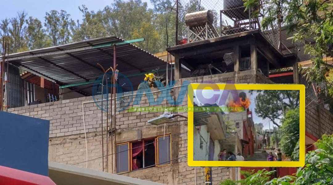 Incendio en casa del barrio el Coquito en San Juan Chapultepec, Oaxaca